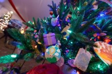 Up-close view of a decorated tree.